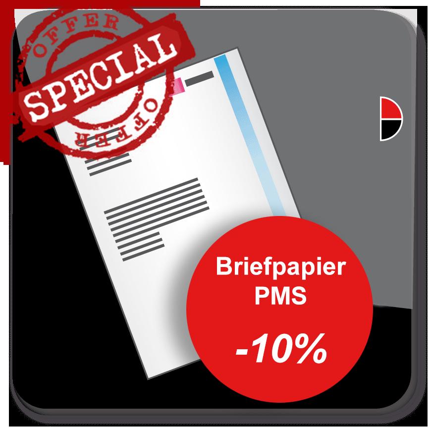 Briefpapier in 1 of 2 PMS kleuren